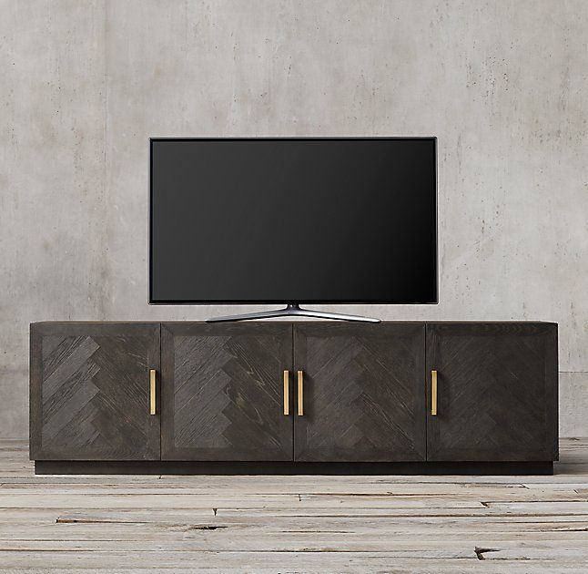 Herringbone 4Door Media Console   Pinterest