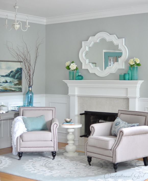sherwin williams light blue gray living room – Tranquility