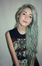 faded green hair waves #minty #mermaid