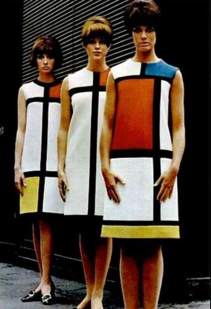 BELEZA: Em 1965 Yves Saint Laurent lançou seu famoso vestido Mondriam inspirado na obra do artista Mondriam. Foi um ícone na época e um marco em sua carreira, sendo copiado por muitos.: