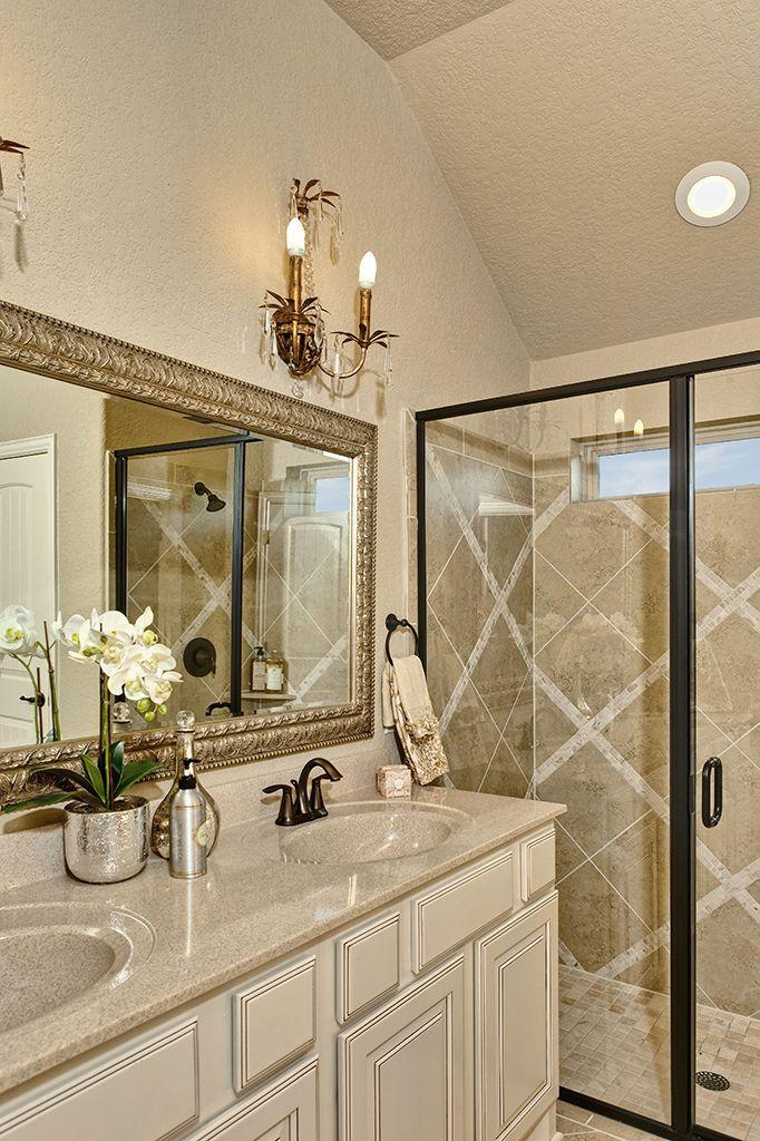 Gehan Homes Master Bathroom  Cream granite brushed gold