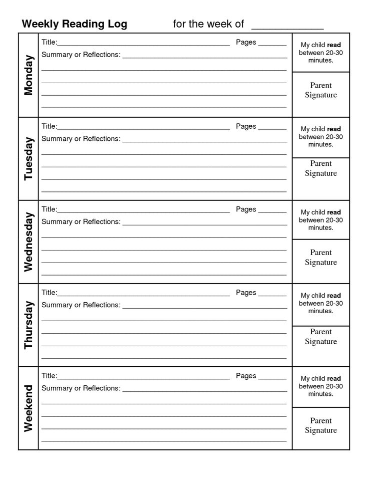 printable homework logs