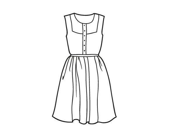 desenhos de vestidos de festa curto para colorir