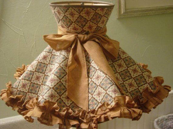 Vintage Early American 60s Lamp Shade Ruffled Lamps