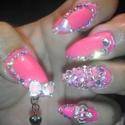 hot bling pink stiletto nails