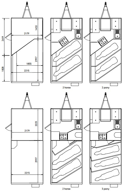 Eventa Horse trailer Layout. Shows the Eventa L and Eventa