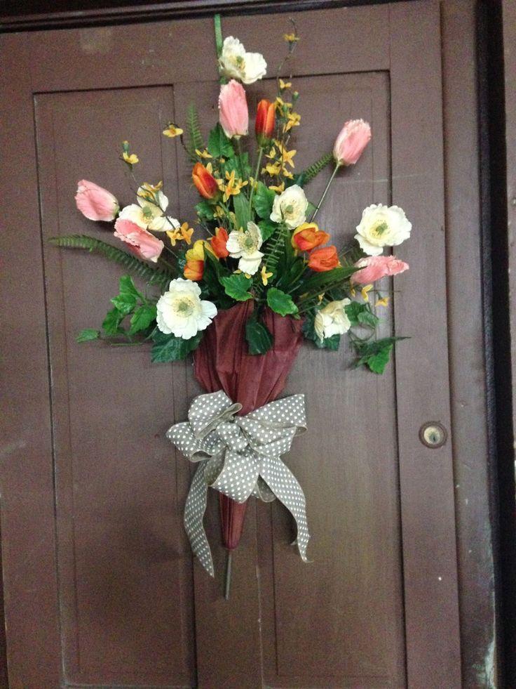 Front door decor, decorated umbrella, spring umbrella