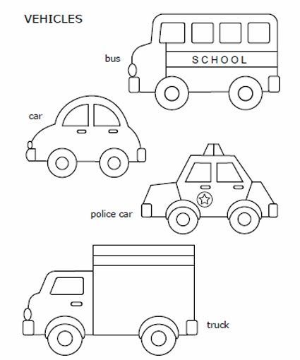 Free printable car, police car, school bus, and truck