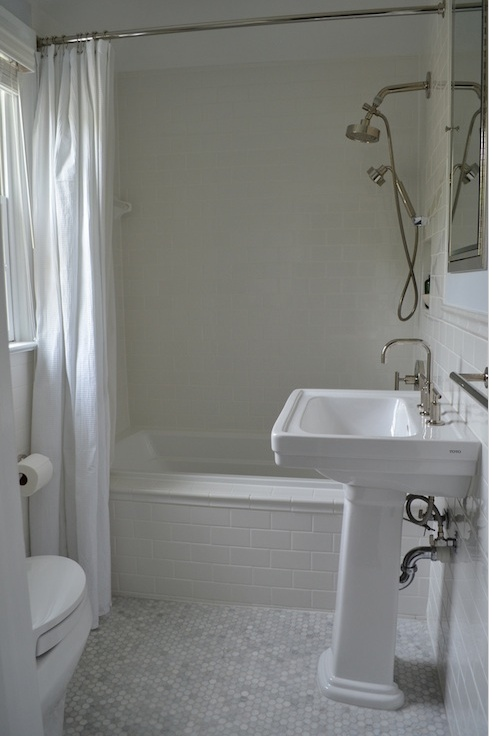 The Tile Shop imperial bianco subway with carrara 1 hex