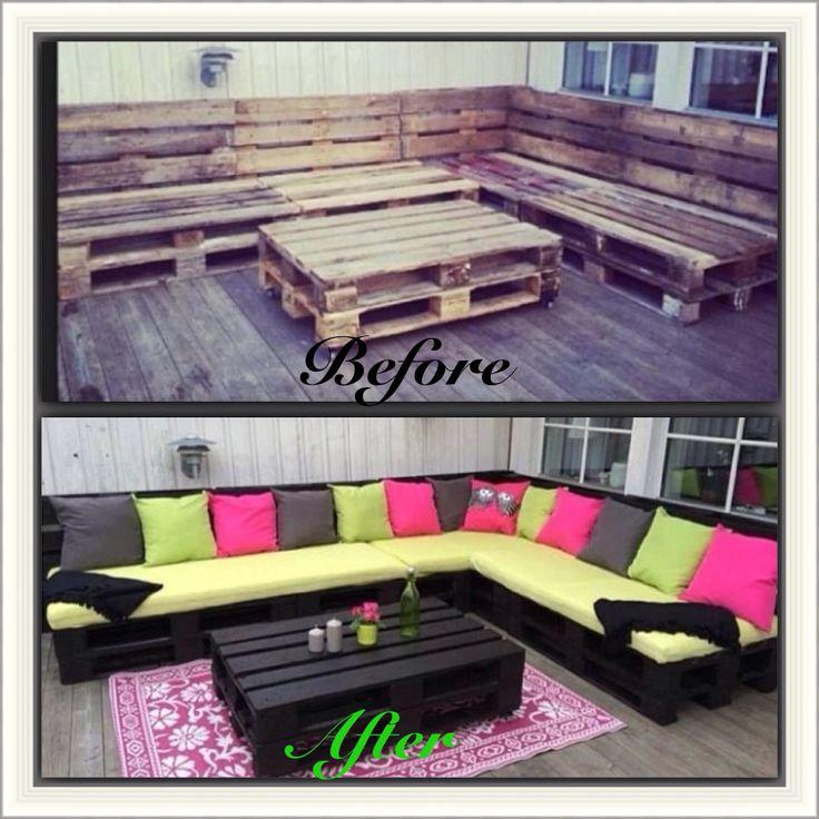 Wood Pallet Sectional  DIY Pallet Furniture  Pinterest