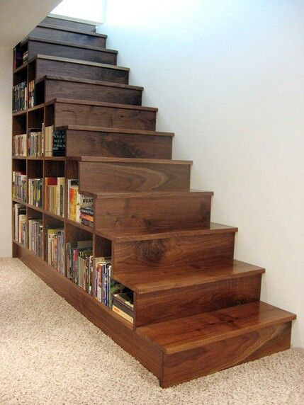 Bookcase Stairs Bookshelf Built Into Stairs - Perfect For The Basement