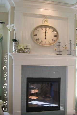 Best ideas about Beadboard Fireplace Surround Fireplace Wanscoting and Clock Above Fireplace on