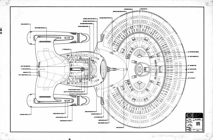 Schematic, ventral view, of U.S.S. Enterprise NCC-1701 D