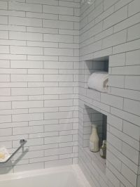 White subway tile w/ gray grout | Bathroom | Pinterest ...