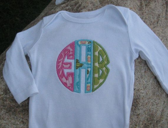 Cute monogrammed onesie for boy or girl  new baby