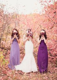 purple bridesmaid gowns for Autumn rustic wedding ...