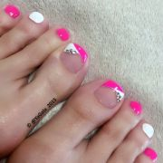 cute bright pink & white toe nails