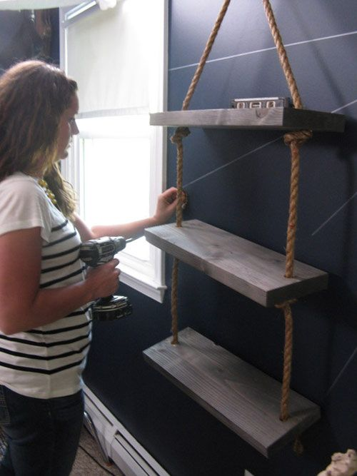 Monica Securing The Shelves In Boy S Pirate Themed Room