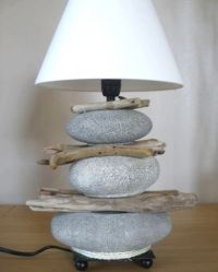 Stacked beach stone lamp with driftwood (and faux stones ...