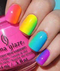 25+ best ideas about Rainbow nail art on Pinterest