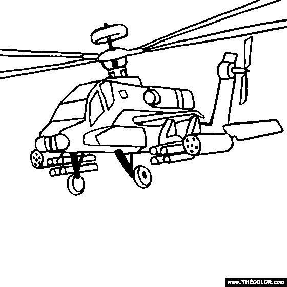 Boeing AH-64 Apache Military Helicopter Coloring