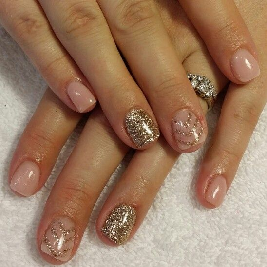 Nude Pink Gel Nails With Gold Glitter Nails ByMe