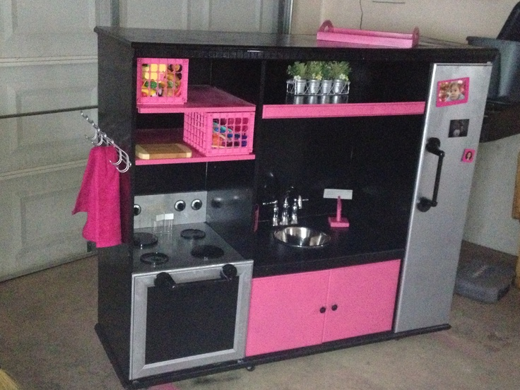Our DIY play kitchen out of an old entertainment center  Pinterest things that Ive actually