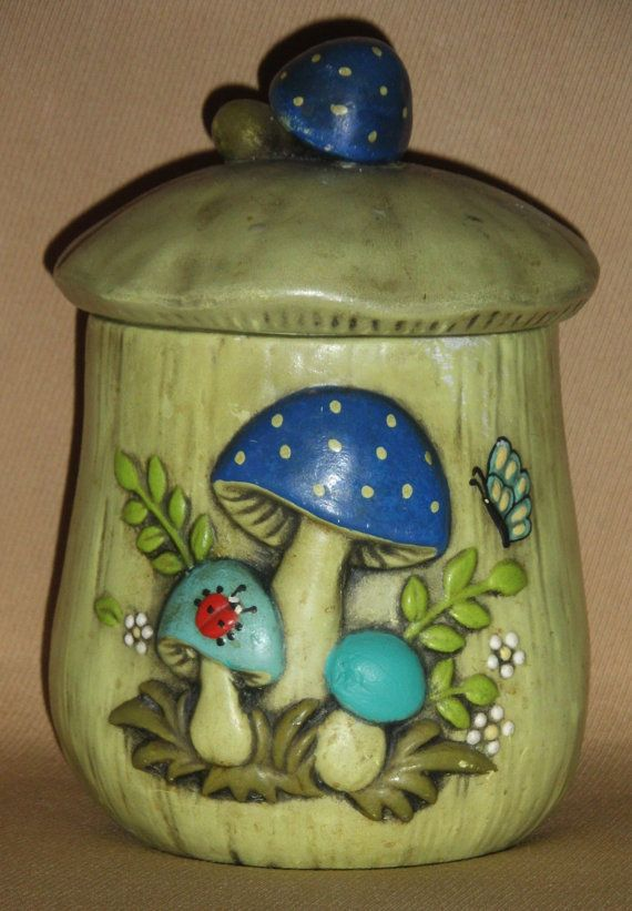 ceramic kitchen canisters cabin decor mushroom canister 1970's housewares home hippie ...