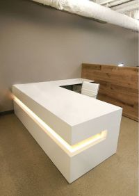 White Modern Reception Desk | Office Renovation ...