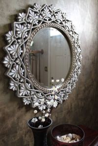 Pier 1 Round Shell Mother-of-pearl Mirror in an entryway ...