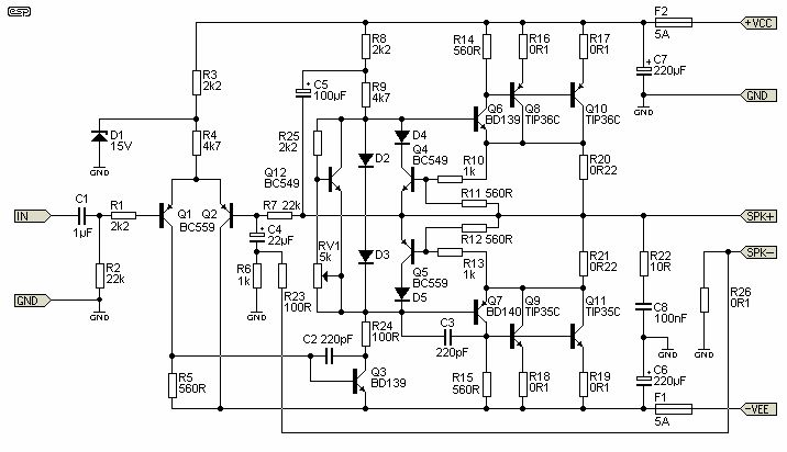 audio amplifier circuit diagrams schematics electronic projects