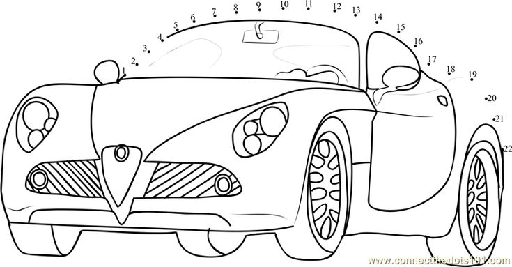 Connect the dots Beautiful Car worksheet, Dot to dots page