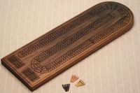 Large Deluxe 3 Track Cribbage Board. Solid Black Walnut ...