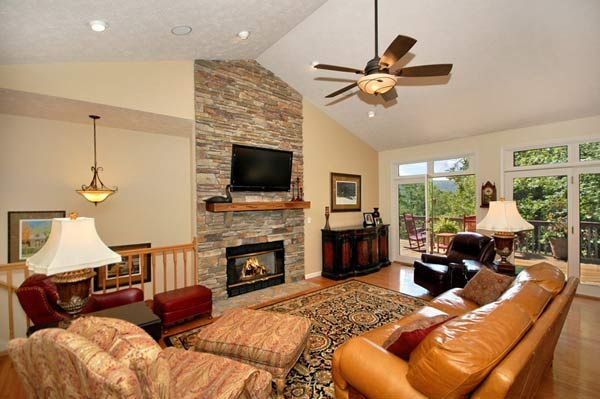 floor to ceiling stone fireplace....vaulted ceiling