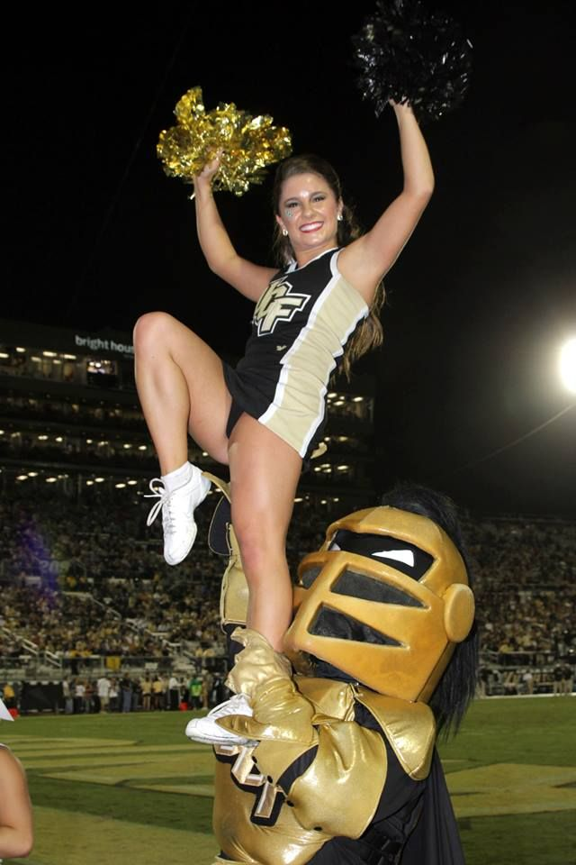 Chair sit with Knightro  UCF Cheer  Cheerleading