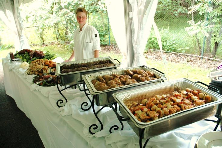 Decorative use of chafing dishes on a buffet table setup