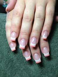 French and coral glitter gel nails | Nail inspiration ...