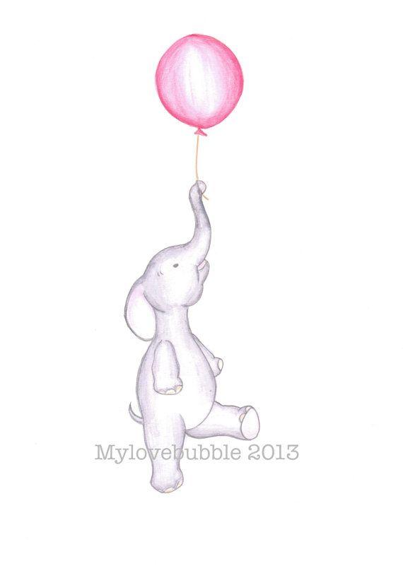 Elephant nursery art- cute baby elephant floating with red