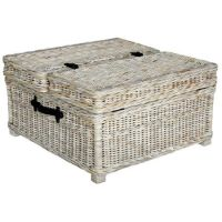 Trunk-style wicker coffee table with a whitewashed finish ...