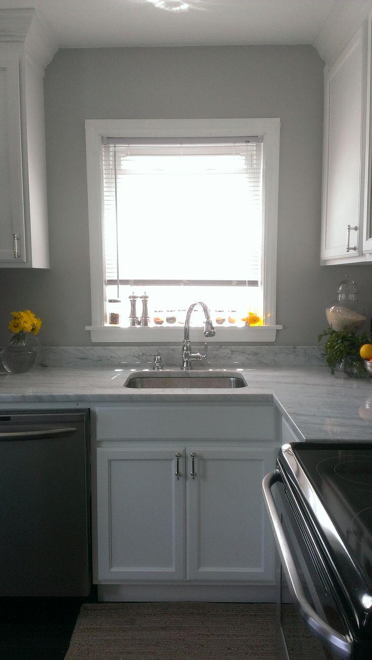 quartz kitchen countertops cost magnets gray wall, white cabinets, deep undermount sink, carrara ...