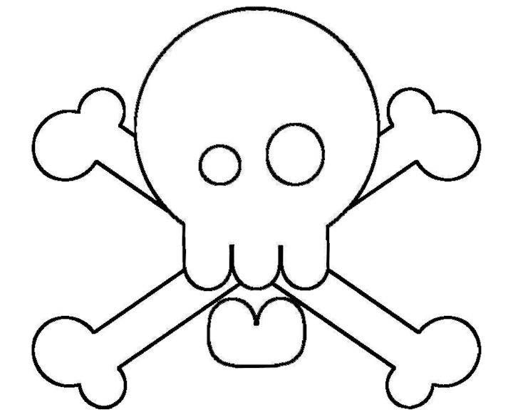 Free Silly Skull with Crossbones Template or Coloring Page