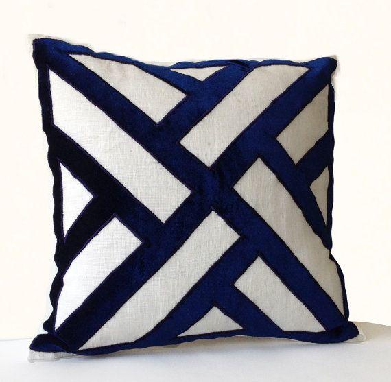 sofa cushion covers ideas z gallerie brighton reviews ivory linen navy blue velvet applique pillow cover ...