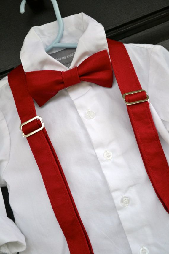 Solid Red Bowtie Bow Tie and Suspender Set