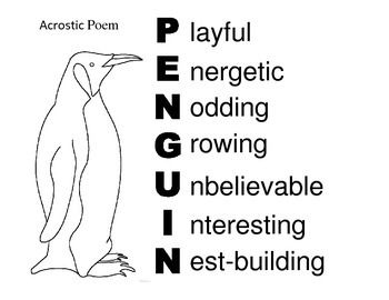 Acrostic Poem about Penguins for a Polar Animals Theme