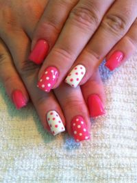 Pink and White Polka Dot Gel Nails | My Work | Pinterest ...