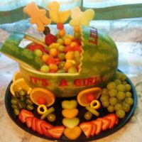 Fruit basket for a baby shower | Edible Fruit Creations ...