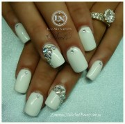 white & rhinestone nails garments