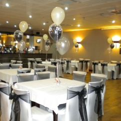 Party Chair Covers Walmart Back Support Pillow For Office Black & White 50th Birthday, Balloons, Riverside Club Chesterfield | ...