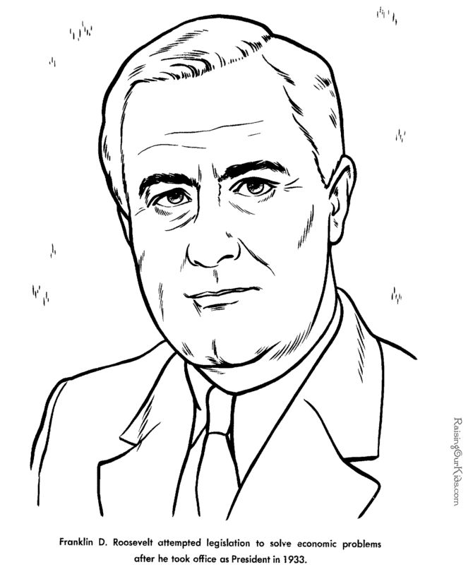 Free printable President Franklin D. Roosevelt facts and