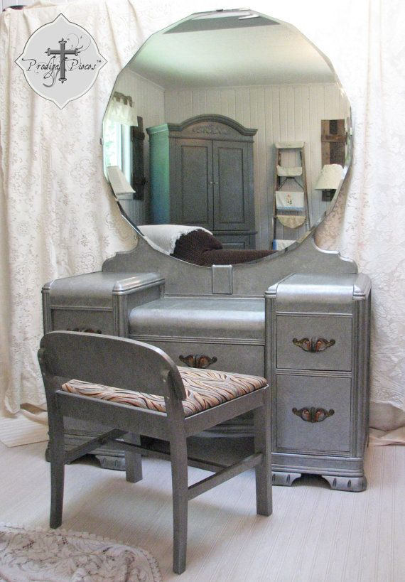 Vintage Art Deco Waterfall Dressing TableVanity with Bench  Zinc Finish  Gorgeous Large 40